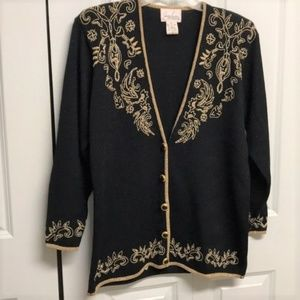 Jaclyn Smith Beaded Cardigan Sweater Size LP